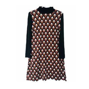 Retro Y2K Geometric Mock Neck Long Sleeve Dress 10